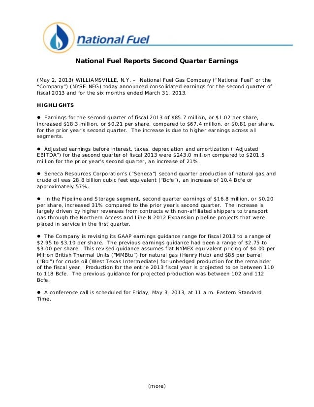 """(more)National Fuel Reports Second Quarter Earnings(May 2, 2013) WILLIAMSVILLE, N.Y. – National Fuel Gas Company (""""Nationa..."""