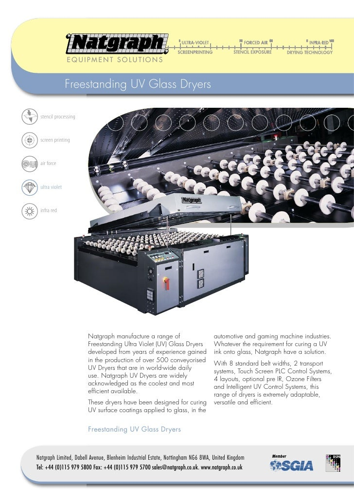 EQUIPMENT SOLUTIONS                   Freestanding UV Glass Dryers   stencil processing    screen printing    air force   ...