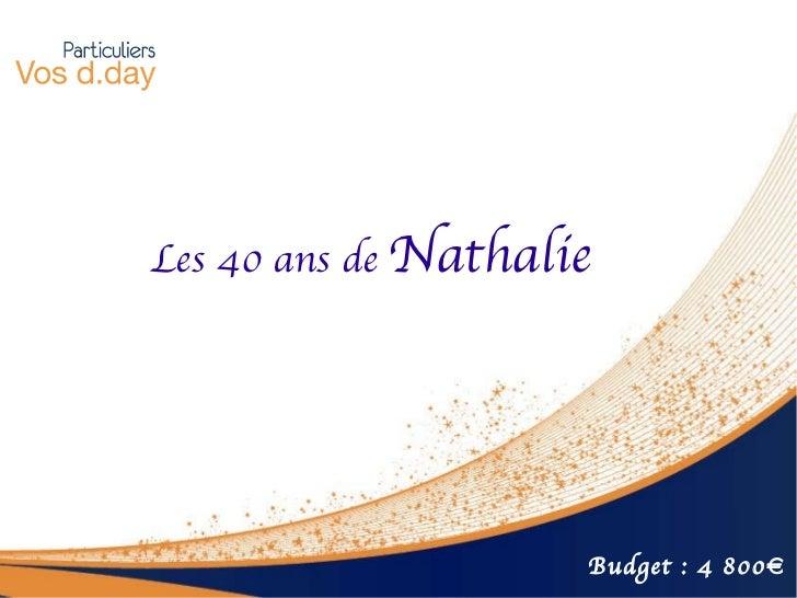 Les 40 ans de  Nathalie Budget : 4 800€