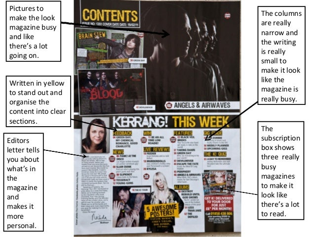 Pictures to make the look magazine busy and like there's a lot going on. Written in yellow to stand out and organise the c...