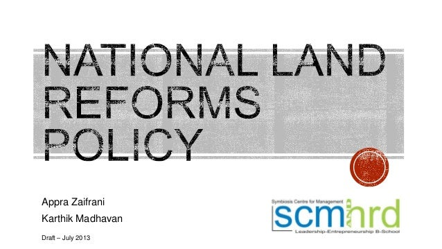 National Land Reforms Policy [Draft, July 2013]