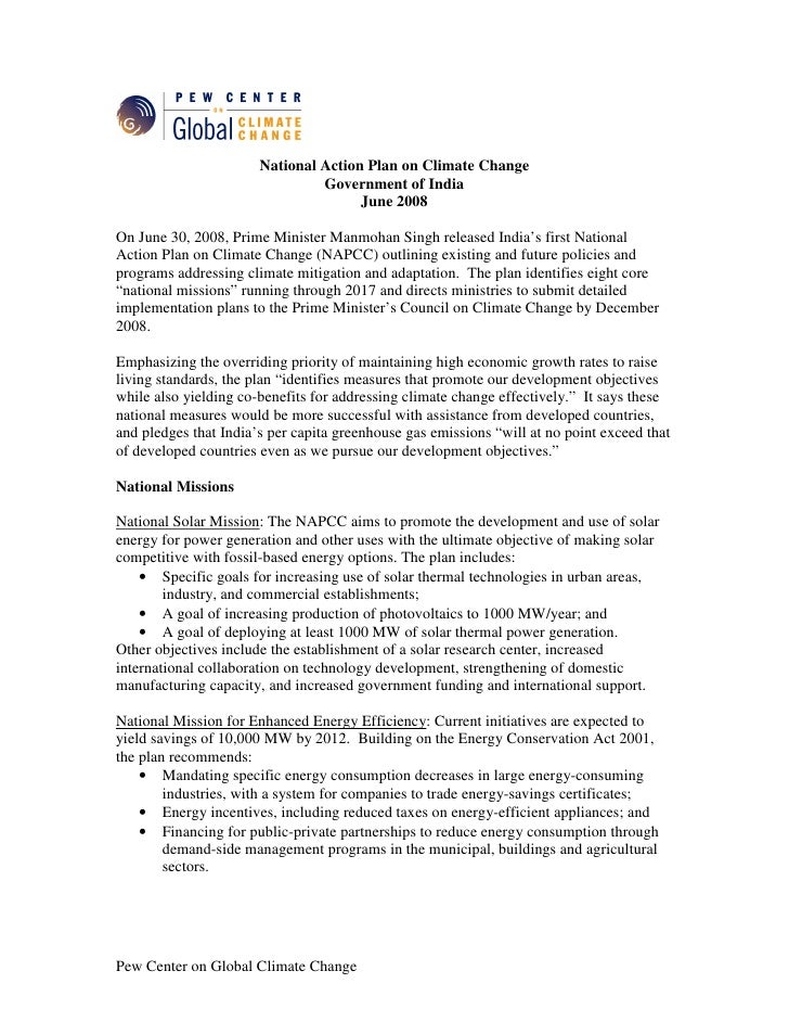 Summary of India´s National Action Plan On Climate Change