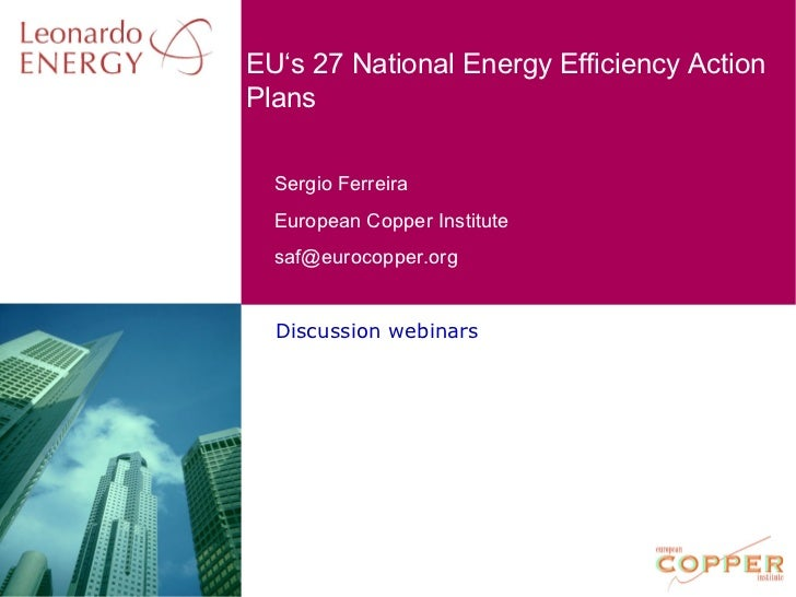 Discussion webinars EU's 27 National Energy Efficiency Action Plans