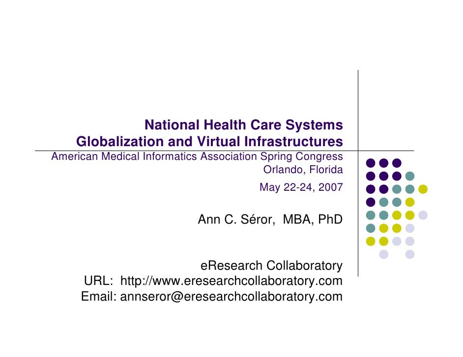 National Health Care Systems     Globalization and Virtual Infrastructures American Medical Informatics Association Spring...