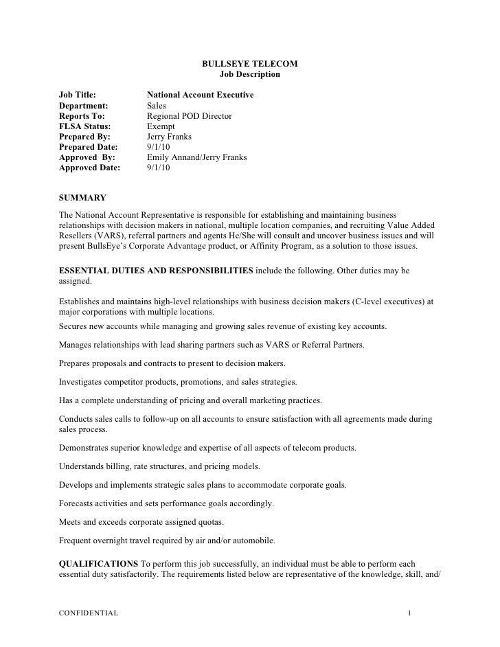 National Account Executive Job Description