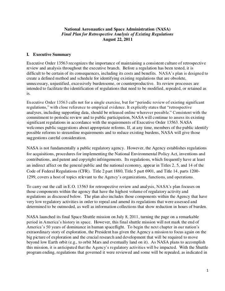 NASA Regulatory Reform Plan August 2011