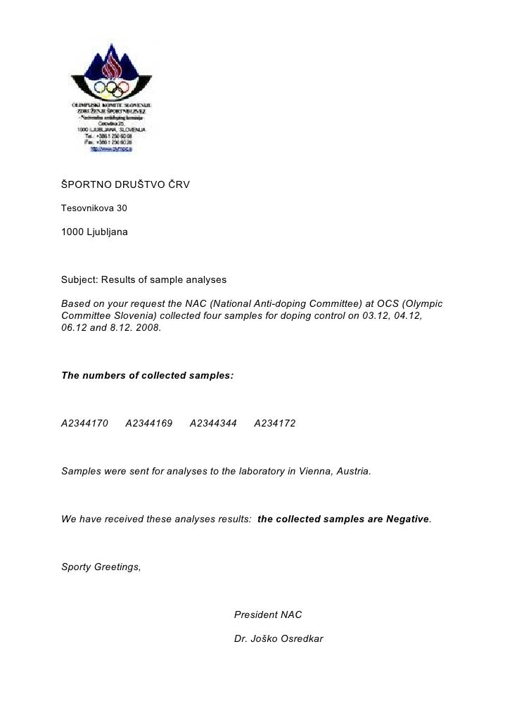 ŠPORTNO DRUŠTVO ČRV  Tesovnikova 30  1000 Ljubljana    Subject: Results of sample analyses  Based on your request the NAC ...