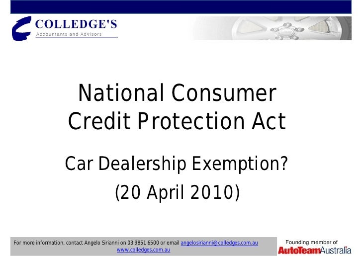 National Consumer                       Credit Protection Act                      Car Dealership Exemption?              ...