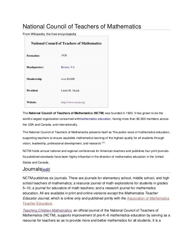 National Council of Teachers of Mathematics From Wikipedia, the free encyclopedia National Council of Teachers of Mathemat...