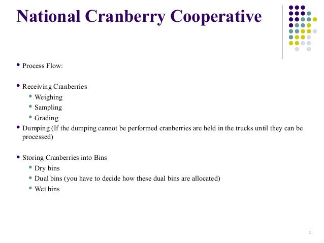 National Cranberry Cooperative  Process  Flow:   Receiving  Cranberries  Weighing  Sampling  Grading  Dumping (If th...