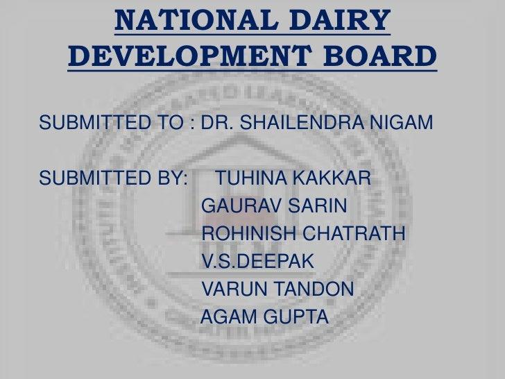 National dairy development board