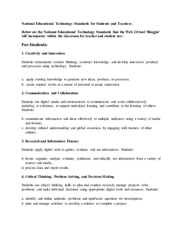 National Educational Technology Standards for Students and Teachers: Below are the National Educational Technology Standar...