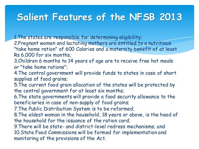 national food security bill 2013 essay 2013 introduction attaining food security is a matter of prime importance for india where more than a-third of  and (g) the national food security bill these .