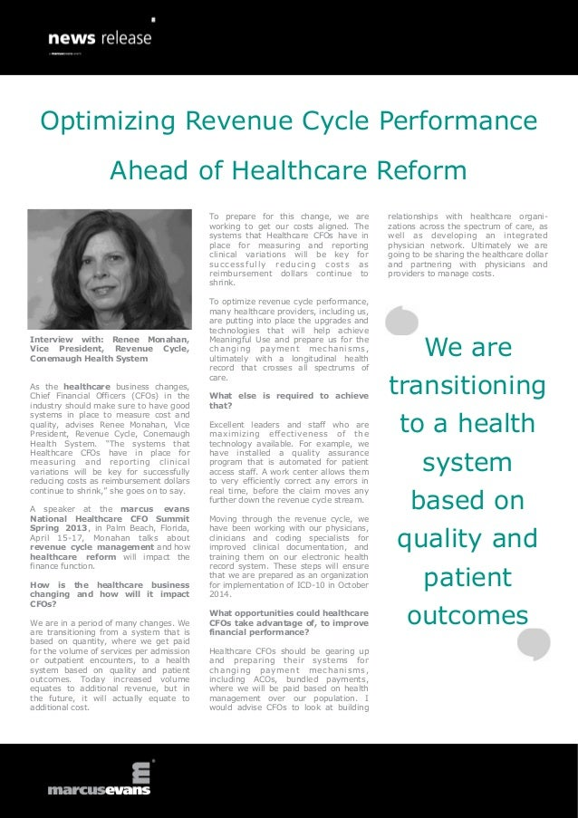 Optimizing Revenue Cycle Performance                    Ahead of Healthcare Reform                                        ...