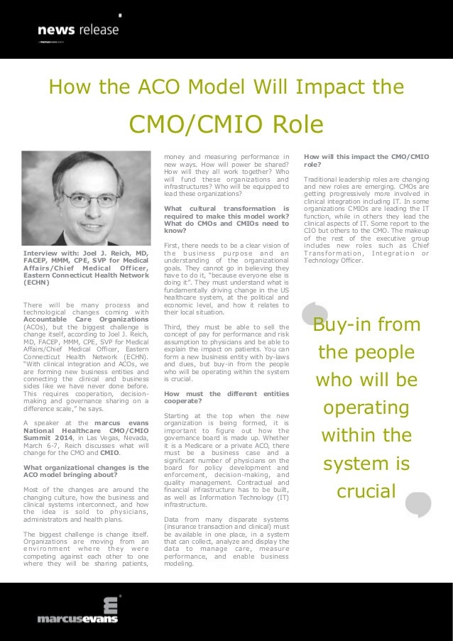 How the ACO Model Will Impact the  CMO/CMIO Role money and measuring performance in new ways. How will power be shared? Ho...