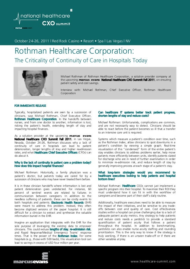 Rothman Healthcare Corporation: The Criticality of Continuity of Care in Hospitals Today - Michael Rothman, Rothman Healthcare Corporation