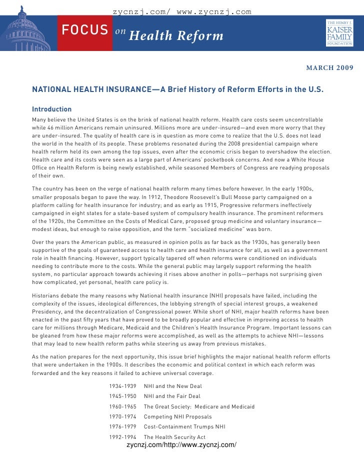 National health insurance a brief history of reform efforts in the ...