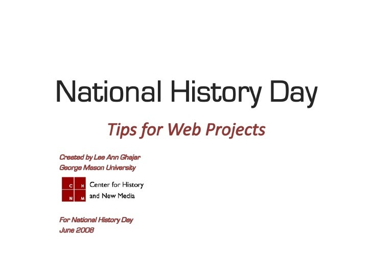 National History Day: Tips for the Web Category