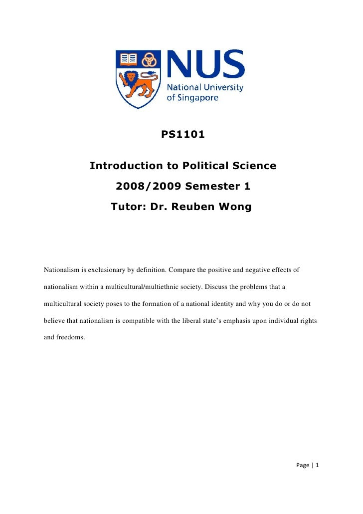PS1101                   Introduction to Political Science                         2008/2009 Semester 1                   ...