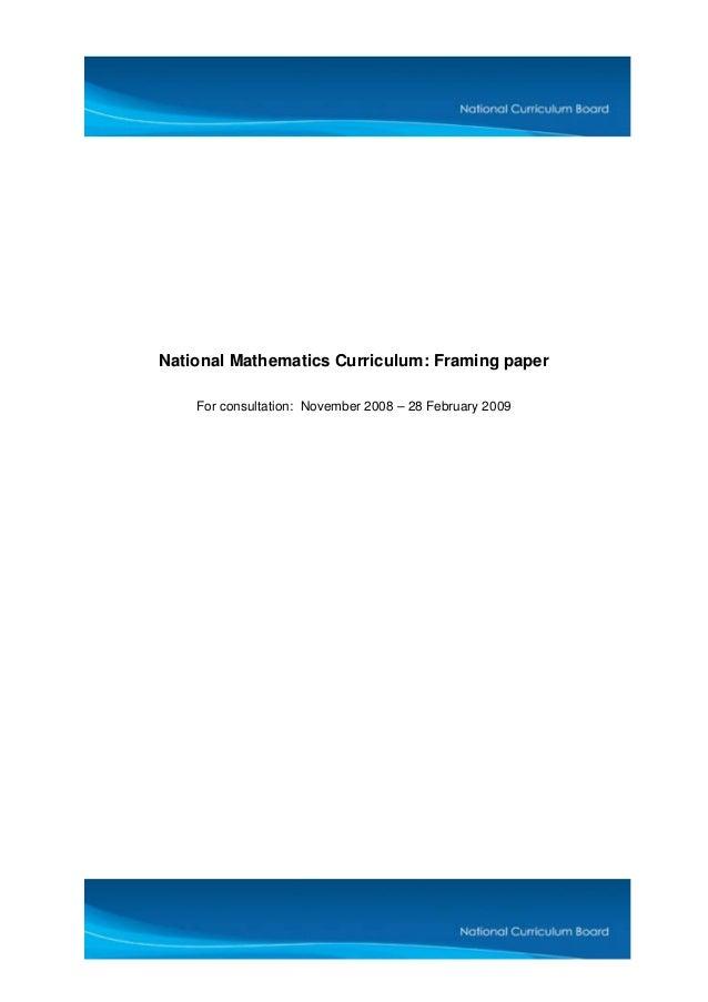 National mathematics curriculum_-_framing_paper