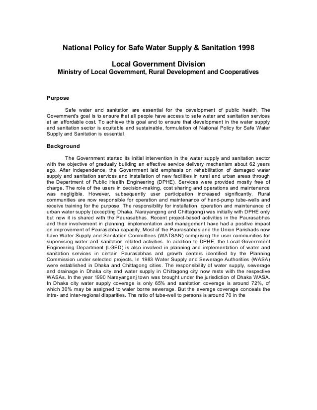 National Policy for Safe Water Supply & Sanitation 1998 Local Government Division Ministry of Local Government, Rural Deve...