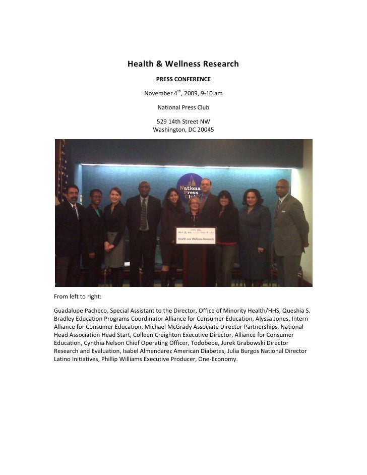 Health & Wellness Research<br />PRESS CONFERENCE<br />November 4th, 2009, 9-10 am<br />National Press Club  <br />529 14th...