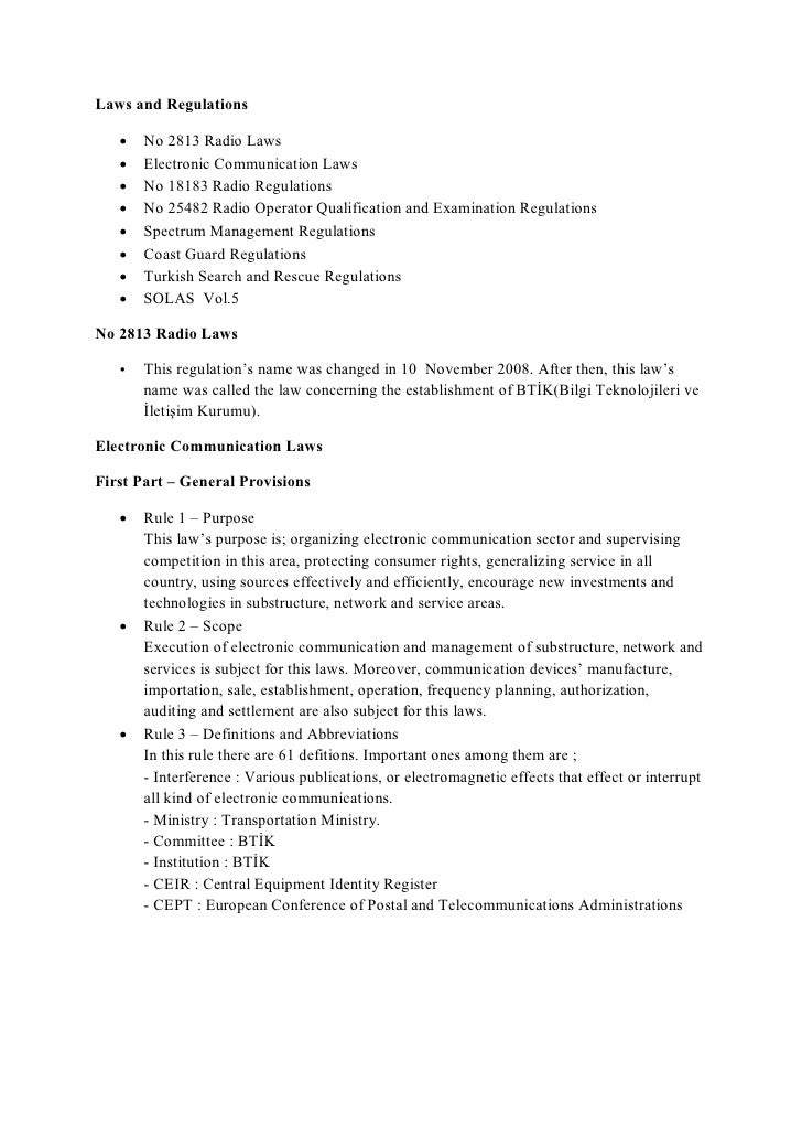 Laws and Regulations      No 2813 Radio Laws      Electronic Communication Laws      No 18183 Radio Regulations      N...