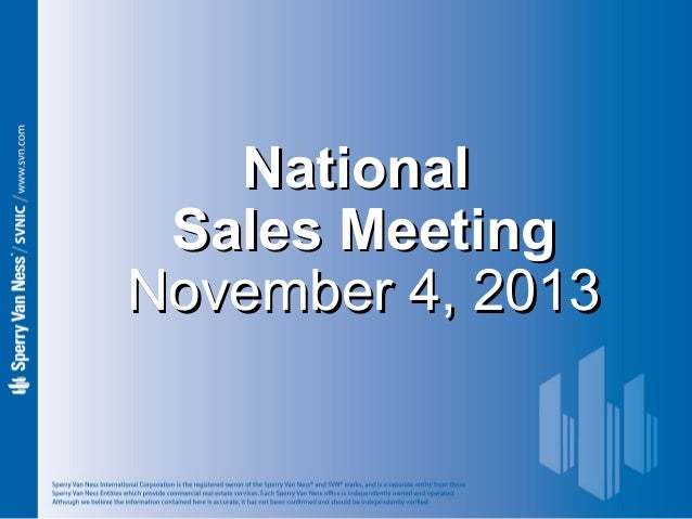 National Sales Meeting November 4, 2013