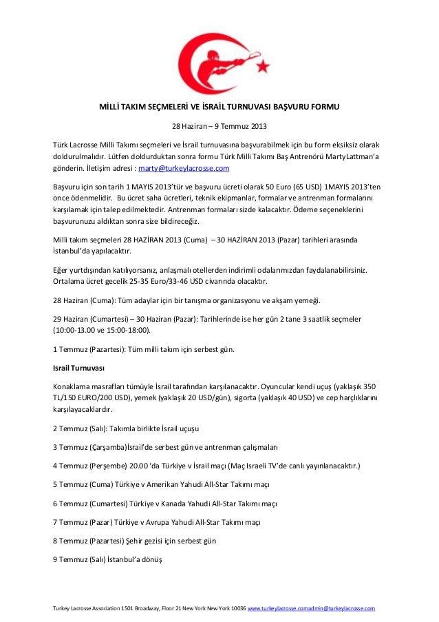 Turkish National Lacrosse team registration form türkçe