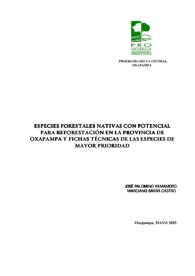 PROGRAMA SELVA CENTRAL                                 OXAPAMPA ESPECIES FORESTALES NATIVAS CON POTENCIAL   PARA REFORESTA...