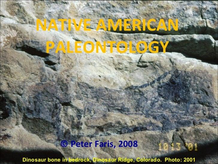 NATIVE AMERICAN PALEONTOLOGY © Peter Faris, 2008 Dinosaur bone in bedrock, Dinosaur Ridge, Colorado.  Photo: 2001