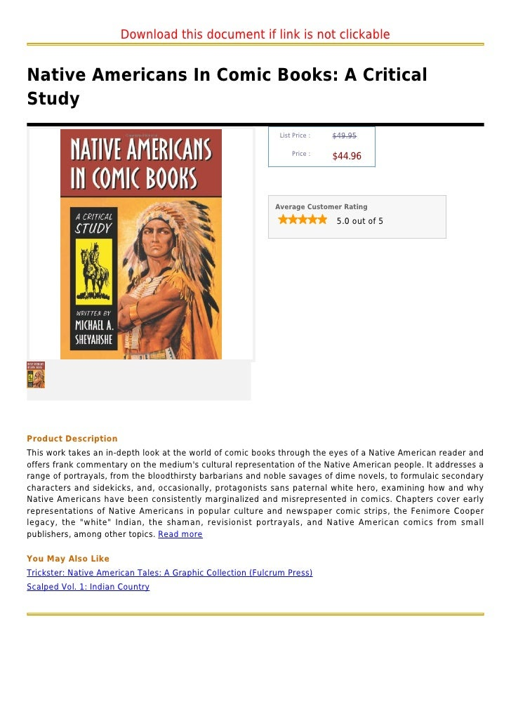 Download this document if link is not clickableNative Americans In Comic Books: A CriticalStudy                           ...