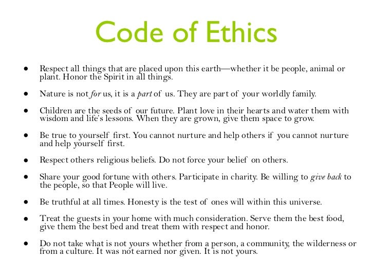 how to write a code of ethics for yourself
