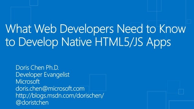 What Web Developers Need to Know to Develop Native HTML5/JS Apps