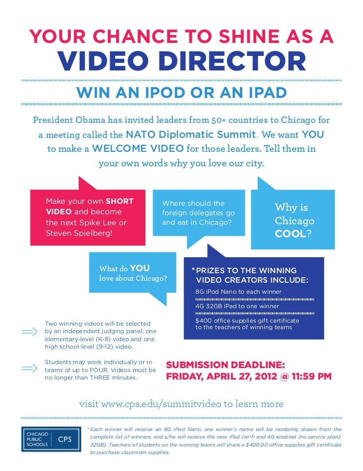 YOUR CHANCE TO SHINE AS A     VIDEO DIRECTOR           WIN AN IPOD OR AN IPADPresident Obama has invited leaders from 50+ ...
