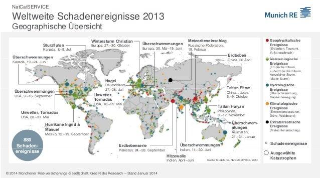 NatCatSERVICE  Weltweite Schadenereignisse 2013 Geographische Übersicht Wintersturm Christian Sturzfluten  Europa, 27.–30....