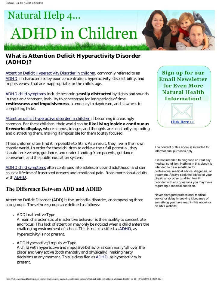 Natural Help For Adhd In Children Signed Rebranded
