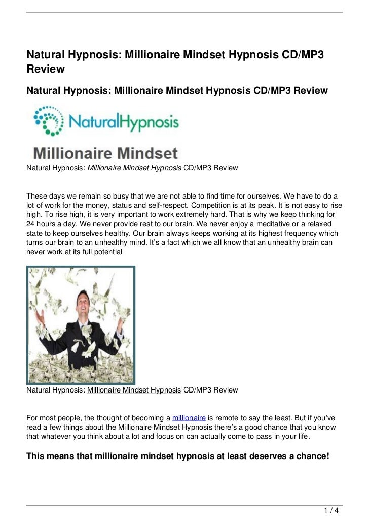 Natural Hypnosis: Millionaire Mindset Hypnosis CD/MP3 Review