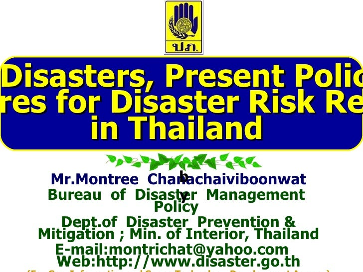 Natural disasters reduction in thailand