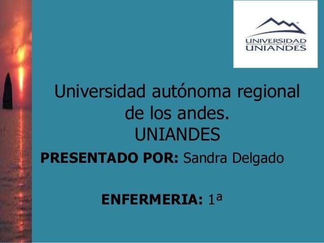 Universidad autónoma regional de los andes. UNIANDES PRESENTADO POR: Sandra Delgado ENFERMERIA: 1ª