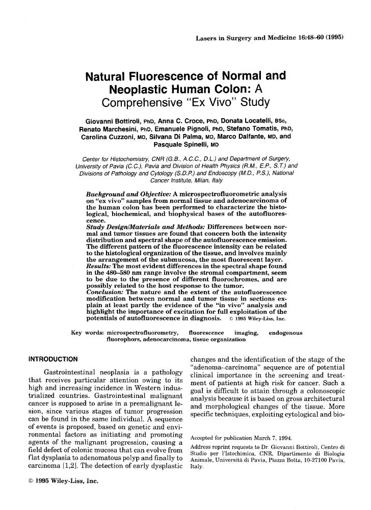 Natural fluorescence of normal and neoplastic human colon