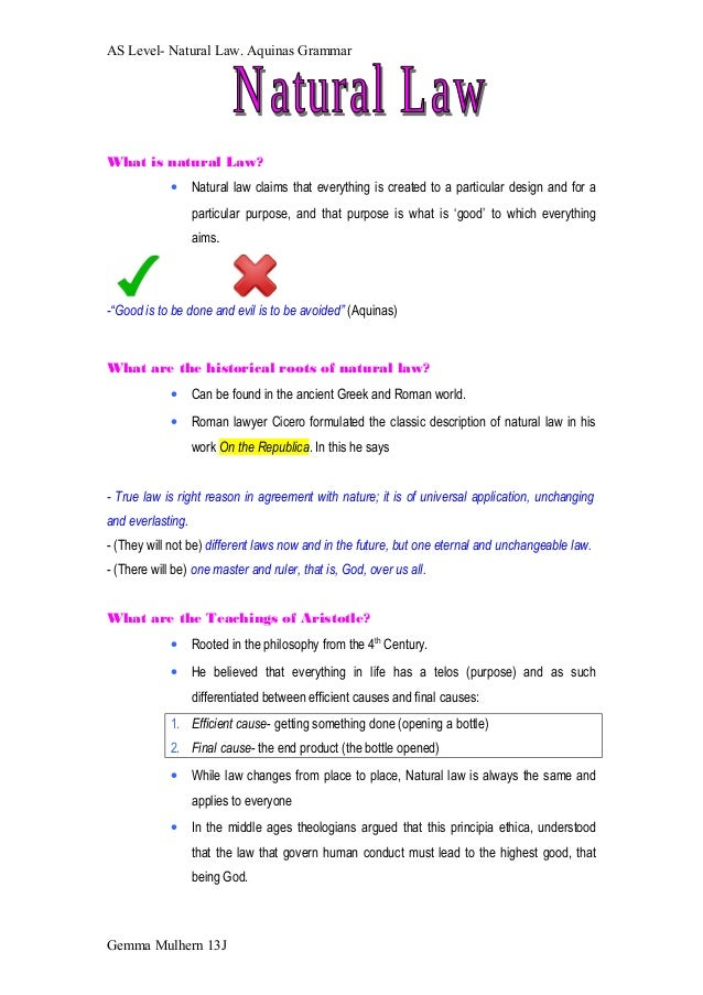 Natural law revision notes