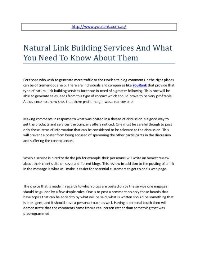 Natural link building services and what you need to know about them