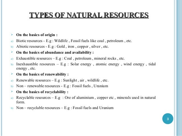 Limited Natural Water Resources