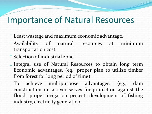 Conservation Of Natural Resources Selection Of Project