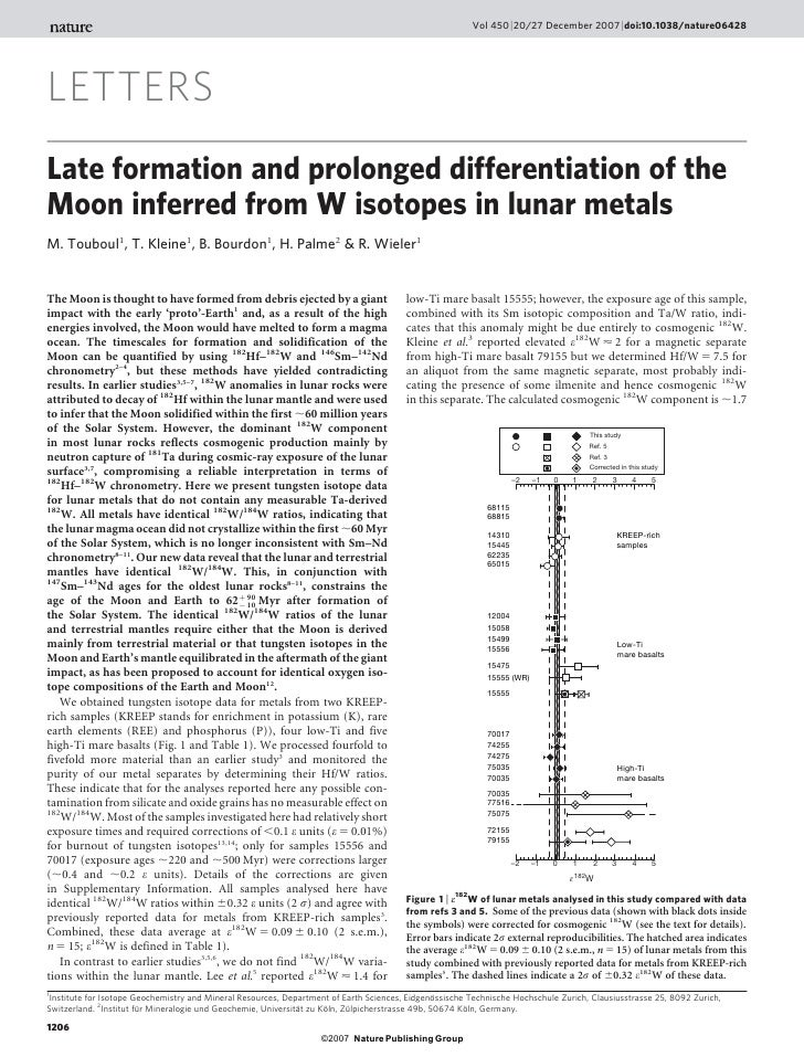 Vol 450 | 20/27 December 2007 | doi:10.1038/nature06428LETTERSLate formation and prolonged differentiation of theMoon infe...