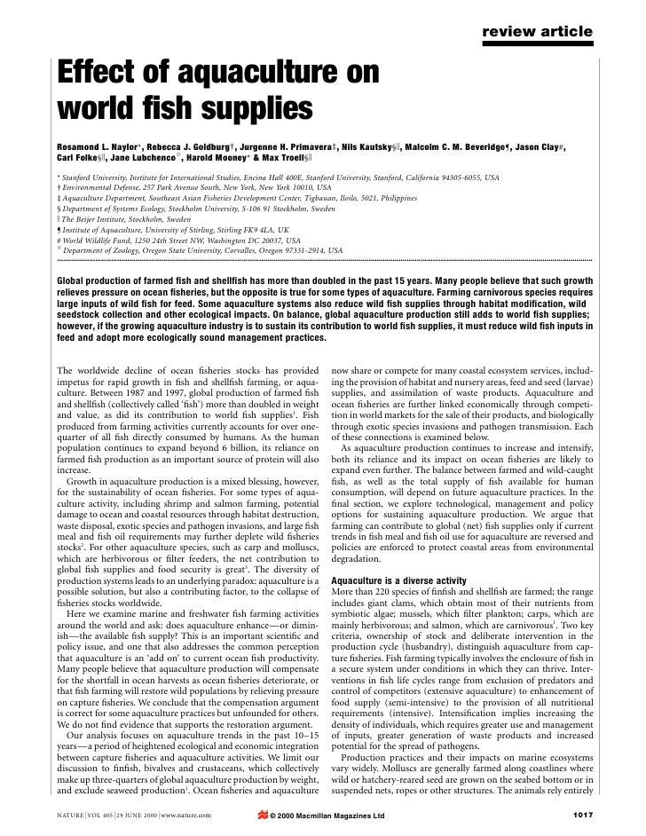 review article  Effect of aquaculture on world ®sh supplies Rosamond L. Naylor*, Rebecca J. Goldburg², Jurgenne H. Primave...