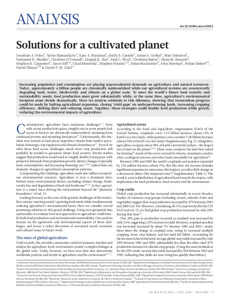 Solutions for a Cultivated Planet - Nature Article - Jonathan Foley