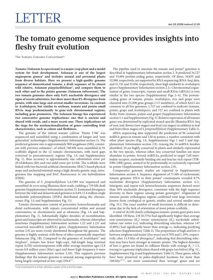 Nature genome tomatoe