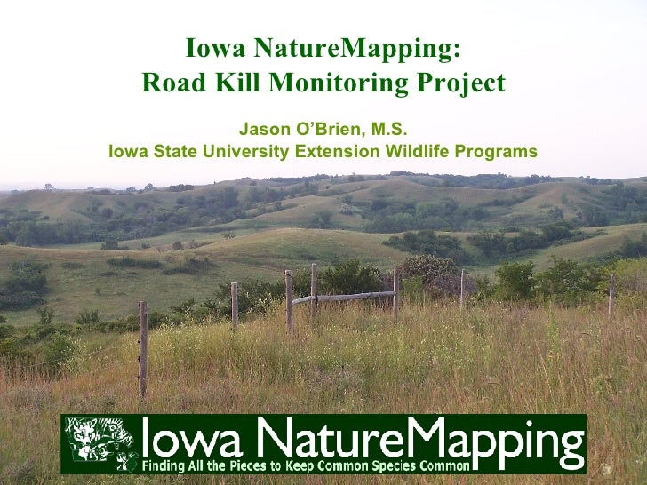 Iowa NatureMapping:    Road Kill Monitoring Project                Jason O'Brien, M.S. Iowa State University Extension Wil...